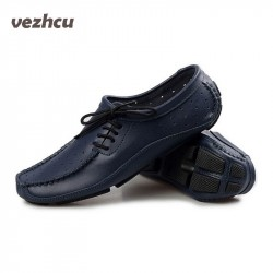 VZEHCU fashion men flats shoes soft genuine leather driving loafers shoes causal shoe men size 39-44