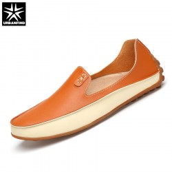 URBANFIND Fashion Men Leather Loafers Driving Shoes Big Size 36-47 Soft  Massage Outsole Summer Man