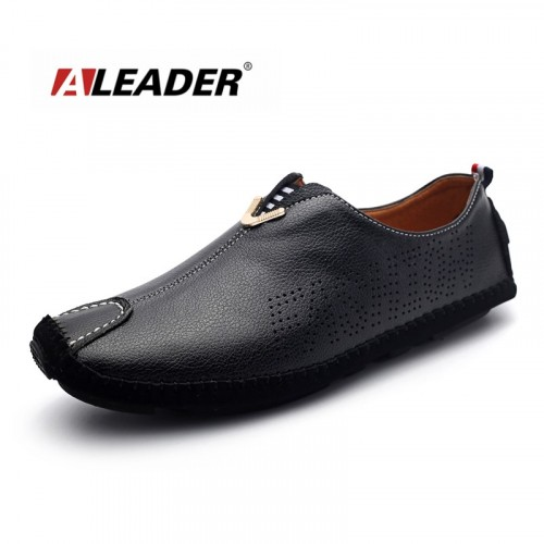 ALEADER Men Summer Genuine Leather Boat Shoes Male Slip On Walking Shoes Men Comfort Soft Driving Sh
