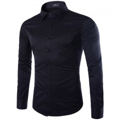 2017 New Brand Fashion Spring Long Sleeve Dress Shirt Cotton Solid Color Causal Bussiness Men shirt