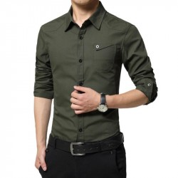 LiSENBAO Plus Size M-5XL High quality Summer mens military uniform style men Casual long sleeved sh
