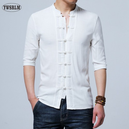 Chinese style Flax summer pants embroidered yarn mens shirt mens long sleeve shirt mens retro co