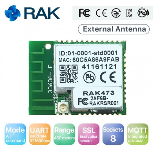 Q117 RAK473 Wireless Low Power Tiny Size IoT UART WiFi Module Tcp Ip Integrated MQTT 450 meters with