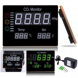 0-9999PPM Digital Wall Mounted Carbon Dioxide CO2 Monitor Gas Detector TemperatureHumidity Tester H