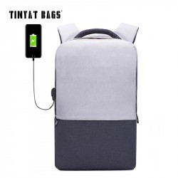 TINYAT Men Laptop Backpack For 1516 inch USB Anti-theft Computer Backpacks Male Gray Bags Daypack W