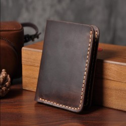 Handmade Vintage Crazy horse Genuine Leather Wallet Men Wallet Leather Men Purse Clutch Bag Male pur