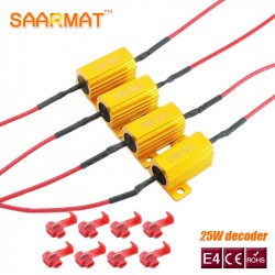 4X 25W LED  Reverse Brake Turn Signal Light Load Resistor Fix Error Fast Flash 7443 WY21W W21W 7440