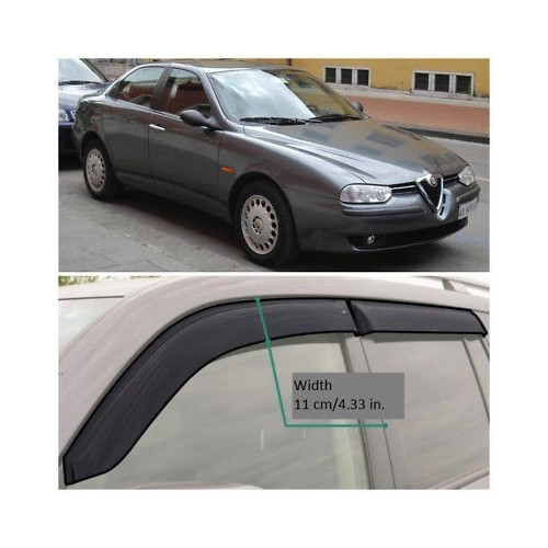 Wide Window Visors Side Guard Vent Deflectors For Alfa Romeo 156 Sd 1997-2005