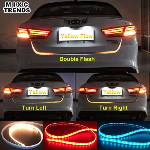 Car Styling Turn Signal Amber Flow Led strip trunk Tail Light Ice Blue LED DRL daytime running light