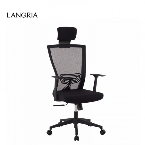 LANGRIA DE Style Modern Ergonomic High-Back Mesh Executive Computer Office Chair with Headrest Lumba
