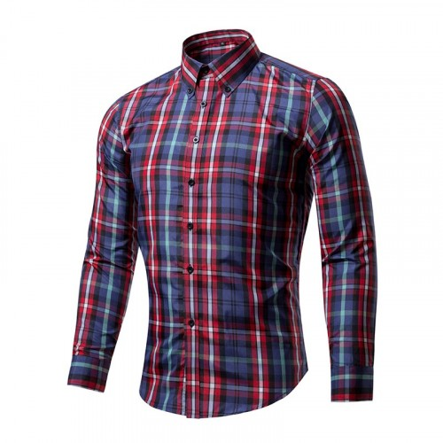 2018 New Arrival Mens Casual Plaid Shirts Long Sleeve Slim Fit Comfort Soft Cotton Shirt