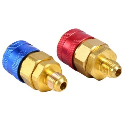 1 Pair R134a Auto Car AC Manifold Quick Coupler Connector Brass Adapters Low amp High Side New