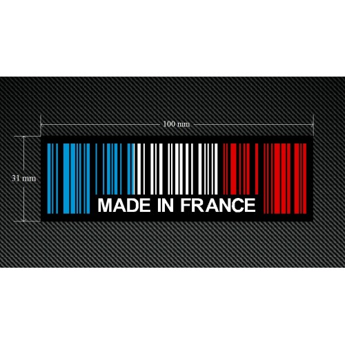 2 x MADE IN FRANCE BAR CODE Stickers Decals with a Black Background