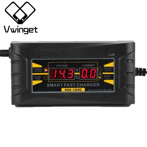 12V 6A Car Battery Charger 110V-240V LED Intelligent Display Electric Car Battery Charger