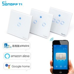 Sonoff T1 WiFi RF APP Touch Control Wall Light Switch 1 2 3 Gang 86 Type Panel Wall Touch Light Switch Smart Home