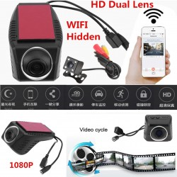 170 HD WiFi Hidden Car SUV DVR Dash Cam Dual Lens Camera G-Sensor Night Vision