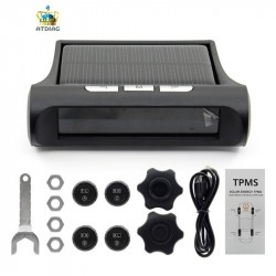 Tire Pressure Monitoring System 12V Real Time Wireless Smart TPMS Tire Pressure Alarm Car Charger with 4 Sensors