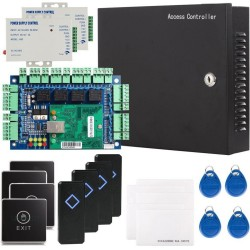 Security Network RFID Access Control Board Kit Metal AC110V Power Box For 4 Doors