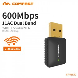 COMFAST AC 600Mbps USB Antenna Wifi Dongle Laptop PC Receiver Dual Band 24G  5Ghz USB Wireless WiFi