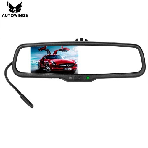 Special Bracket 43 TFT LCD Screen Car Rear View Rearview Mirror Monitor Video Player 2 Video Input For Rear View Camera