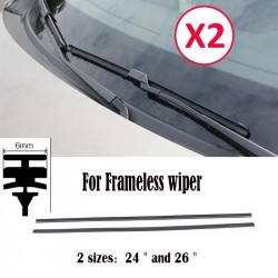 "2Pc 6mm 24"" 26"" Car Rubber Bracketless Wiper Blade Refill Universal"