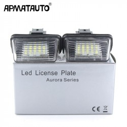 Apmatauto No error 2Pcs LED 24SMD License Number Plate Lights Lamp For Citroen C3 C4 C5 Berlingo Saxo Xsara Pi