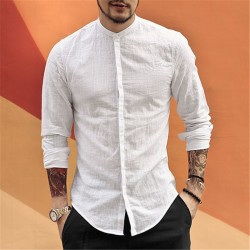 Casual Mandarin Collar Long Sleeve Shirts Men Cotton Linen Designer Brand Slim Fit