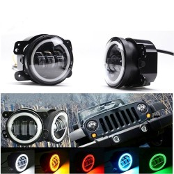 2PCS DOT 4Inch Round Led Fog Lights 30W 6000K White Halo Ring DRL