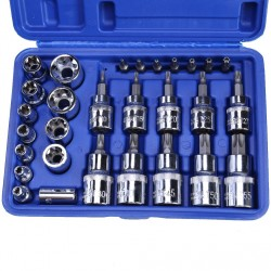 29pcsSet Star Torx Socket Tools Set Male Female Sockets with Torx Bit Adaptor for Mechanics Repair Tool Kit