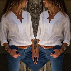 Womens Ladies Loose Long Sleeve Cotton Casual Blouse Shirt Tops Linen
