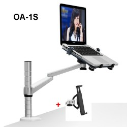 360 Rotation Aluminum Alloy 2 in 1 Tablet PC Holder + Laptop Stand Holder