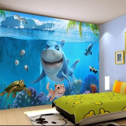 Custom 3D Mural Wallpaper Non-woven children Room wall covering Wall paper 3d stereo sea world 3D kid Photo
