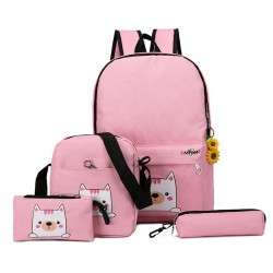 2019 Fashion 4csset Canvas Women Backpack Schoolbag Cute Cat School Bag Backpacks for Teenage Girls Daypack R