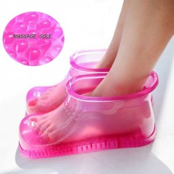 Foot Bath Massage Boots Household Relaxation Slipper Shoes Feet Care Hot Compress Foot Soak Theorapy Massage E