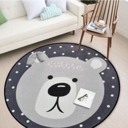White Grey Cartoon Animals Bear Fox Panda Round Tapete For Living Room Bedroom Home Decor Carpet Rug Children