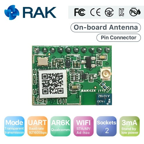 RAK425 Wireless UART Serial WIFI Module to IoT Low Power Tiny Size Pin Connector Industrial Grade Integrated TCP IP