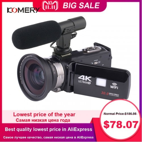 4K Camcorder Video Camera Wifi Night Vision 3.0 Inch LCD Touch Screen Time-lapse Photography Camera